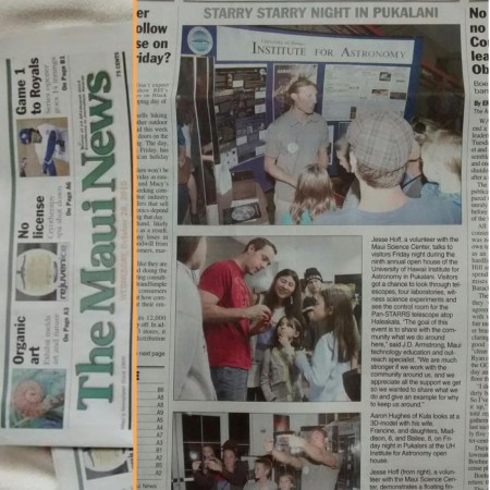 Mui Science Center on the front page of the Maui News